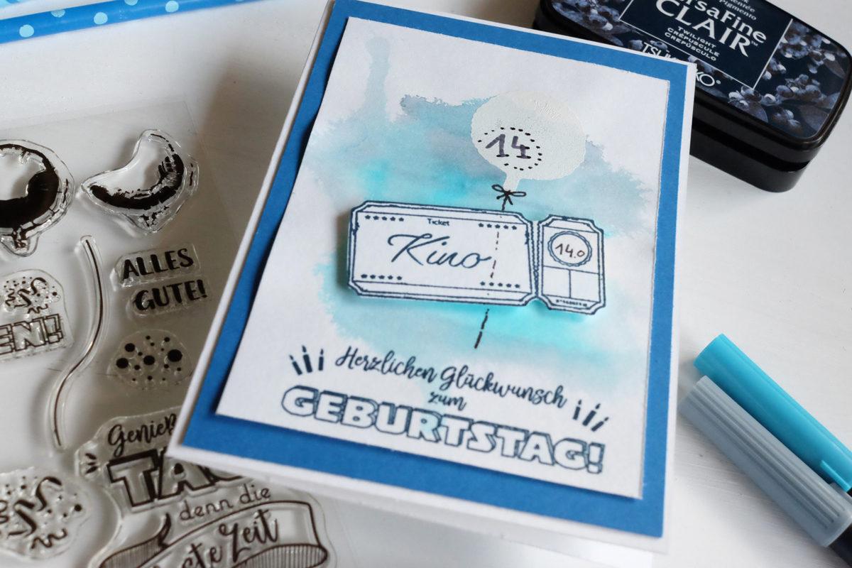 Geburtstagskarte mit Ticket | Unsere kleine Bastelstube - DIY Bastelideen für Feste & Anlässe
