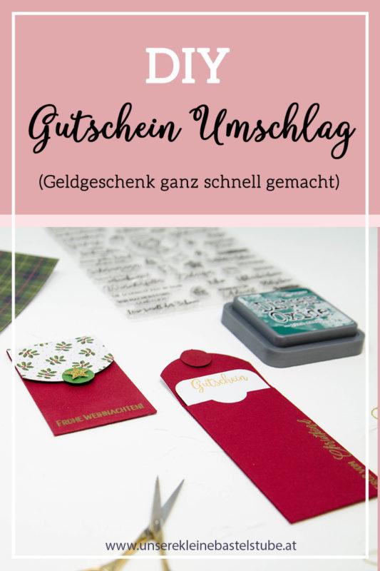 Gutschein Umschlag zu Weihnachten | Unsere kleine Bastelstube - DIY Bastelideen für Feste & Anlässe