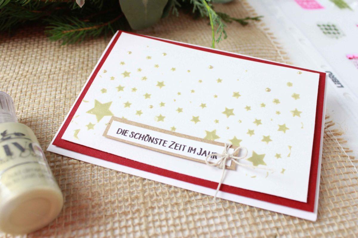 Fenster #17 Weihnachtskarte mit Stern Hintergrund | Unsere kleine Bastelstube - DIY Bastelideen für Feste & Anlässe