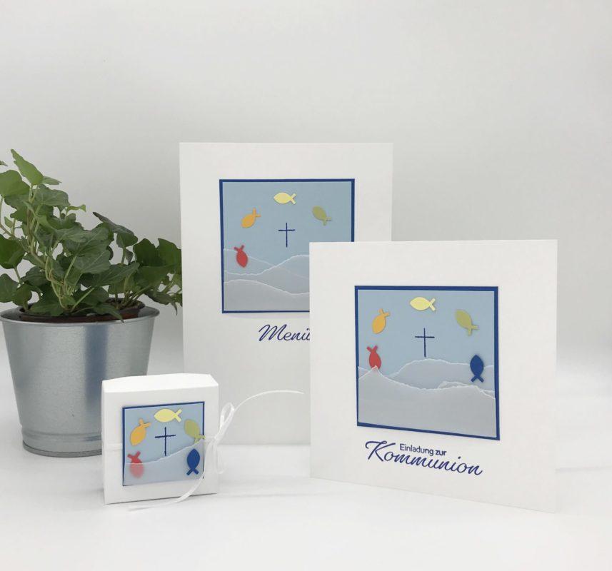 Kommunionseinladung, Menükarte und Gastgeschenk selber machen | Unsere kleine Bastelstube - DIY Bastelideen für Feste & Anlässe