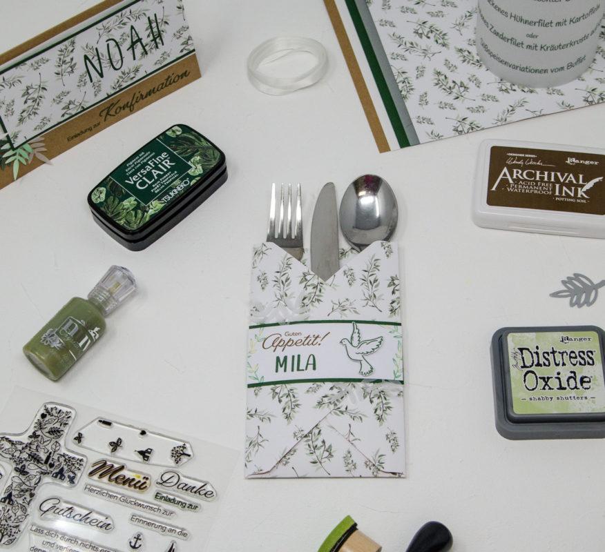 Einladung zur Konfirmation selber basteln plus dazupassende DIY Namenskärtchen, Menükarte und Gastgeschenk | Unsere kleine Bastelstube - DIY Bastelideen für Feste & Anlässe