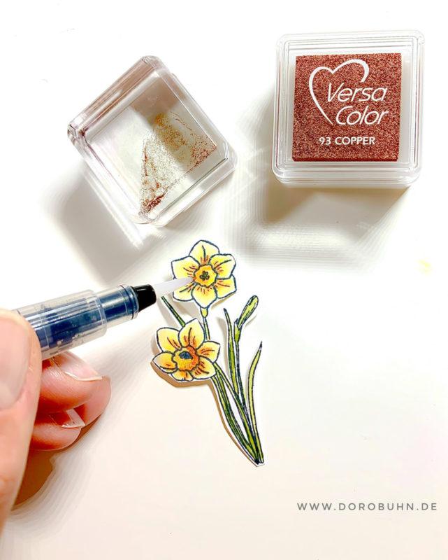 ostern narzissen watercolor stempel