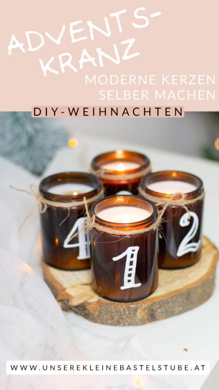 Kerzen für deinen modernen Adventskranz selber machen   Unsere kleine Bastelstube - DIY Bastelideen für Feste & Anlässe