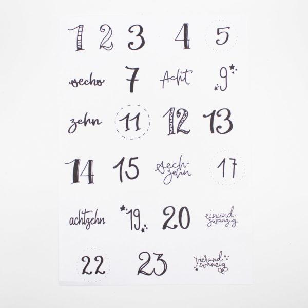 DIY Adventskalender basteln - Adventskalenderzahlen