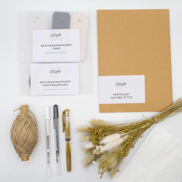 DIY Set Nature Style mit Trockenbumen Karten basteln und DIY Geschenke