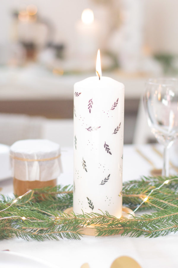 Stumpenkerze 70x200 Kerzenfolie Weihnachtskerze für die Tischdeko