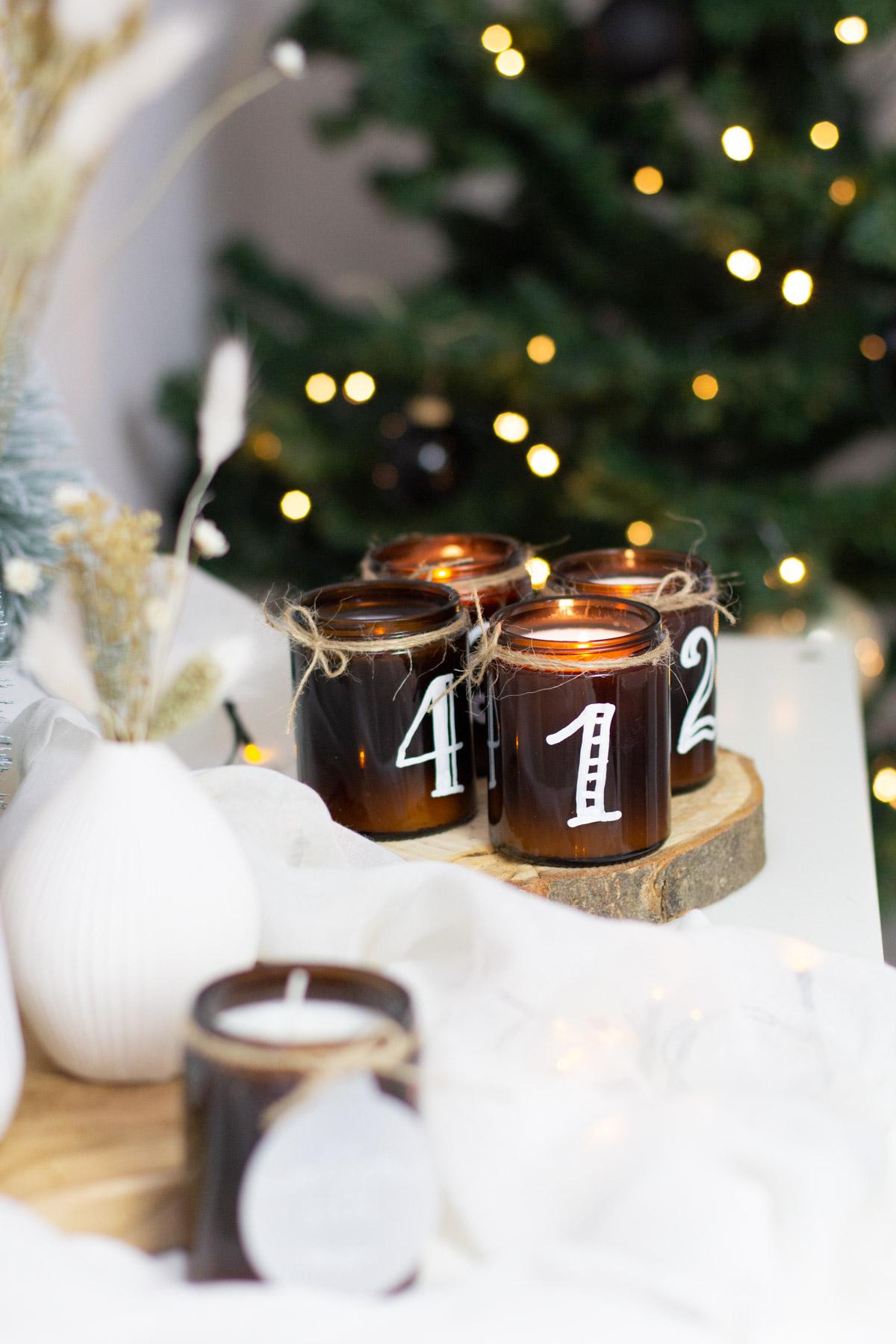 modernen Adventskranz selber machen - Weihnachten Natur Style DIY Set