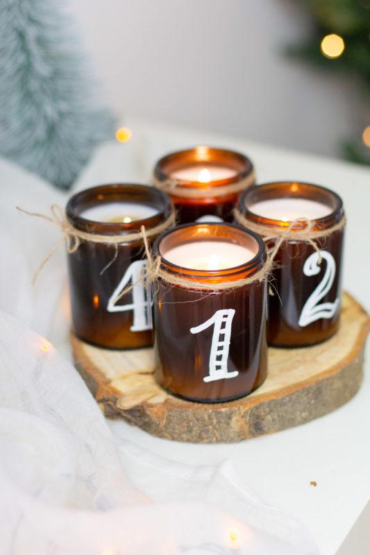 DIY Set Adventskranz mit Braungläser und Sojawachs Kerzen