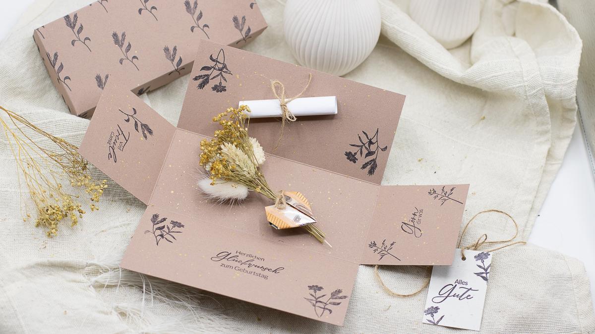 Geldgeschenk liebevoll verpacken - Explosionsbox - Freebie - Printable