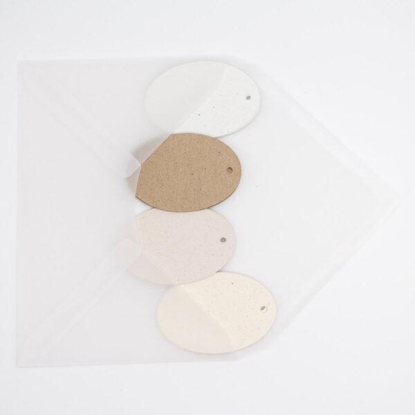 Geschenkanhänger eiförmig - Farbmix Natural Spring Unsere kleine Bastelstube