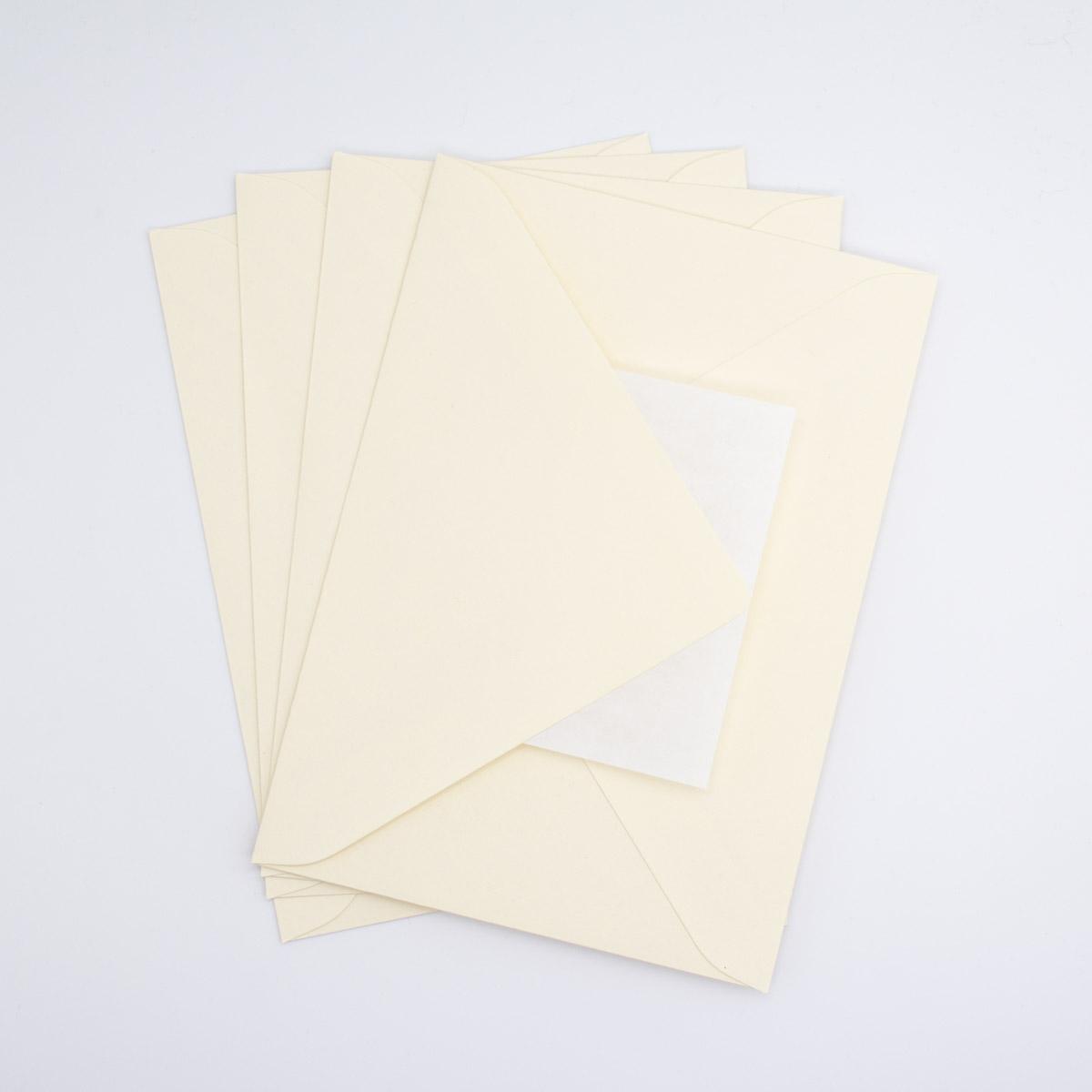 Briefumschlag-Spitze-Klappe-Creme-5-Stück-B6-Unsere-kleine-Bastelstube