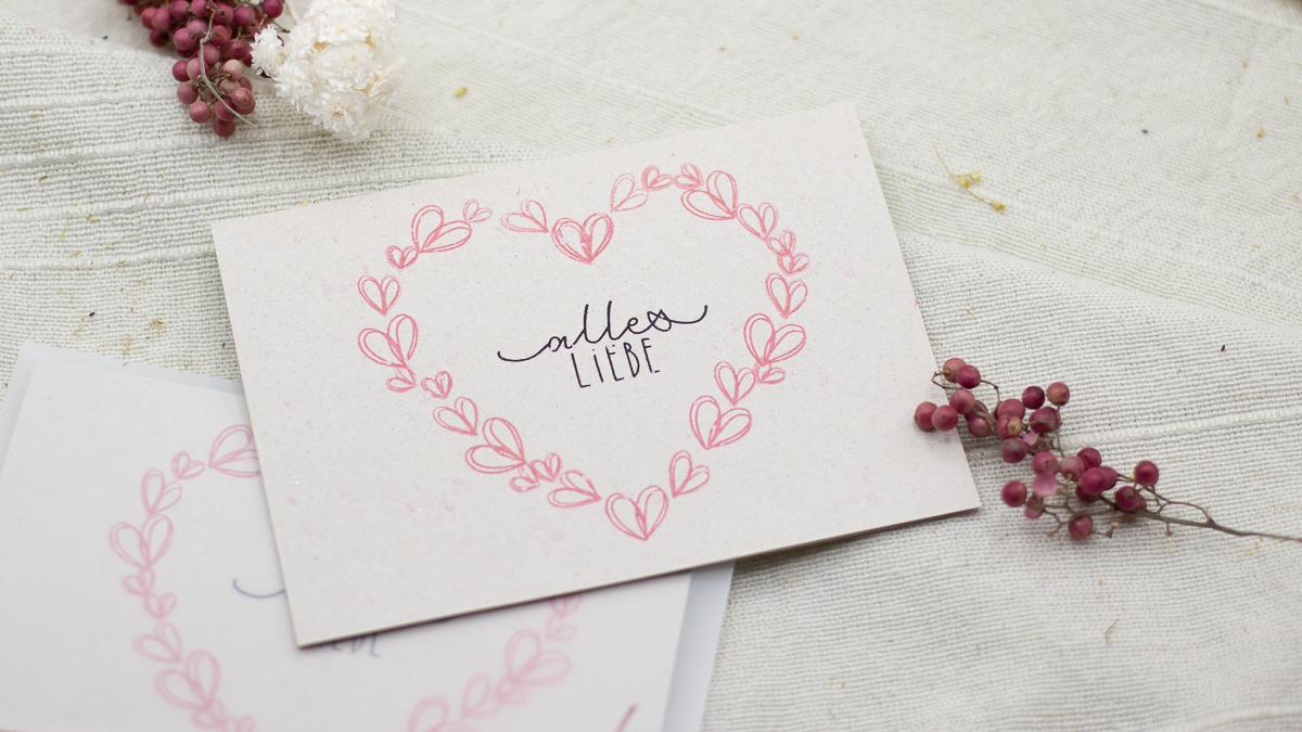 Karte mit Herz selber basteln - Valentinstag und Muttertag