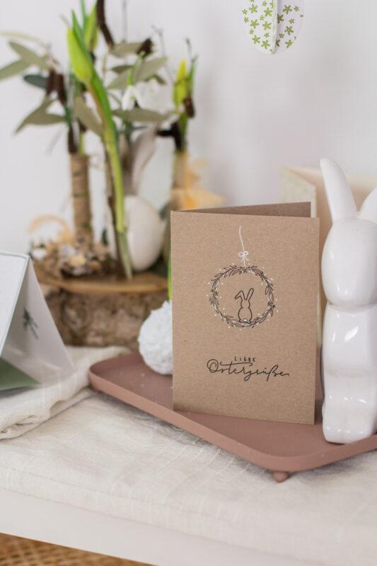 Osterkarte selber machen mit Stempel und Kranz - Nature Style