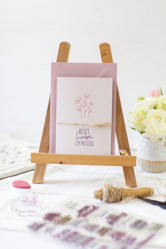 Muttertagskarte basteln mit Stempel