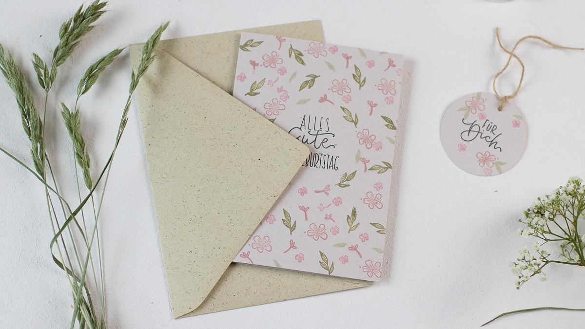 Briefumschlag Graspapier - Karte selber machen