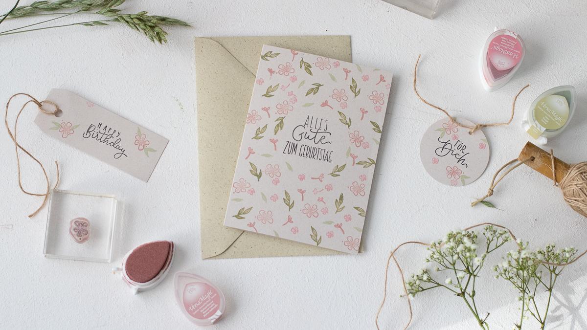 Glückwünsche zum Geburtstag - Karte und Geschenkanhänger einfach & schnell selber machen