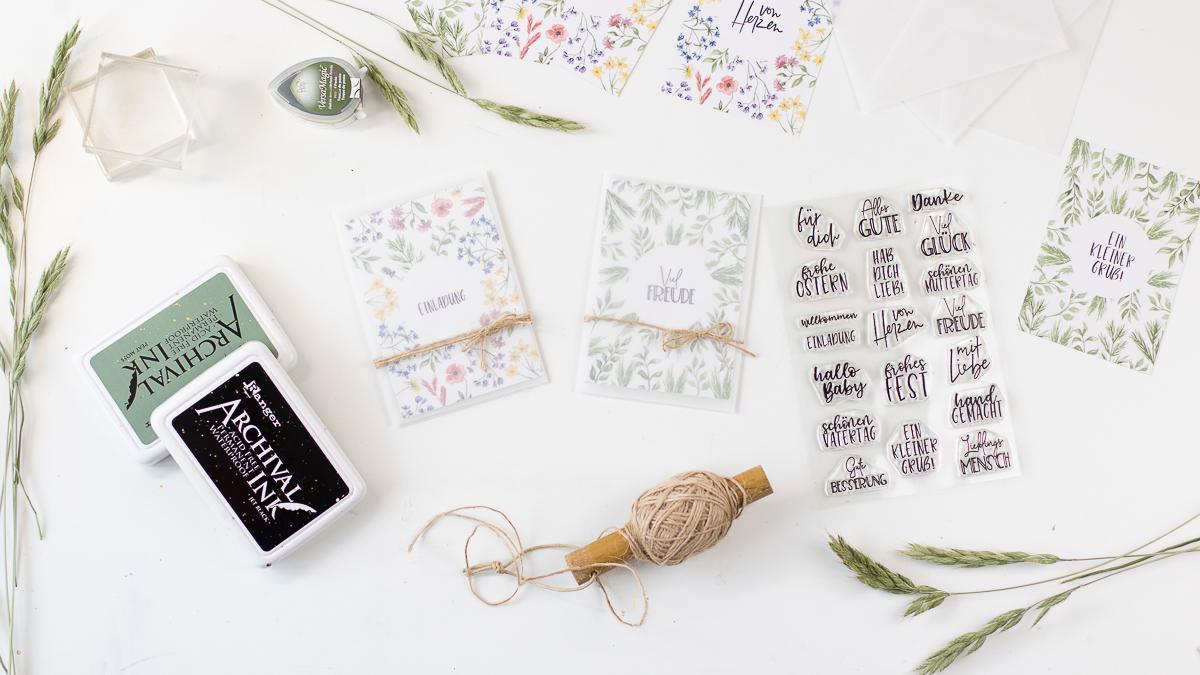 Kleine Karten selber machen mit Stempel