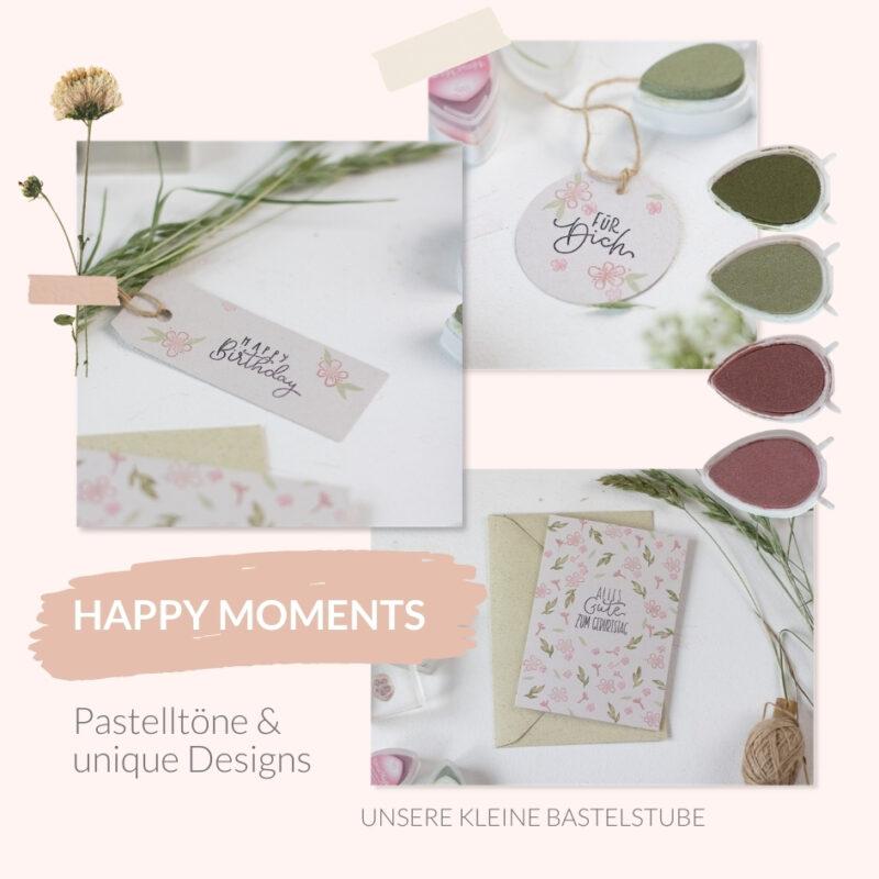 Glückwunschkarte selber machen | Geburtstag - mit Moodboard Happy Moments | Unsere kleine Bastelstube - DIY Bastelideen für Feste & Anlässe
