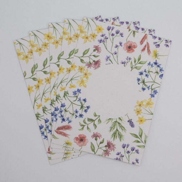 Postkarten Wiesenblumen klein 5 Stück (Hochformat)