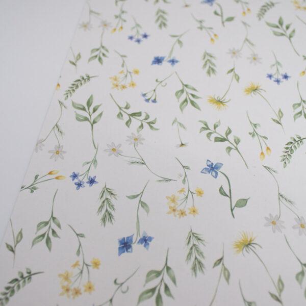 Designpapier Wiesenblumen blaue Blümchen A4 - 5 Stück2