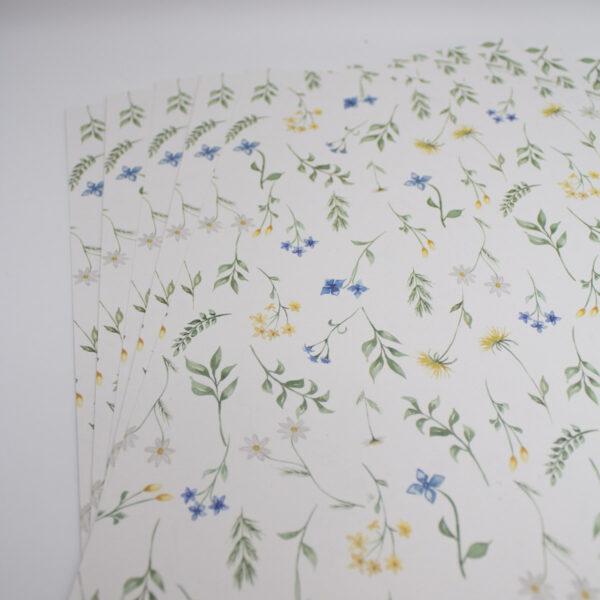 Designpapier Wiesenblumen blaue Blümchen A4 - 5 Stück1
