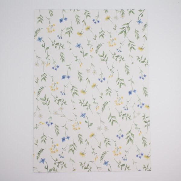 Designpapier Wiesenblumen blaue Blümchen A4 - 5 Stück
