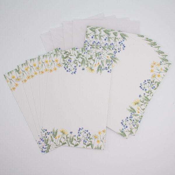 Postkarten Set Blaue Blümchen